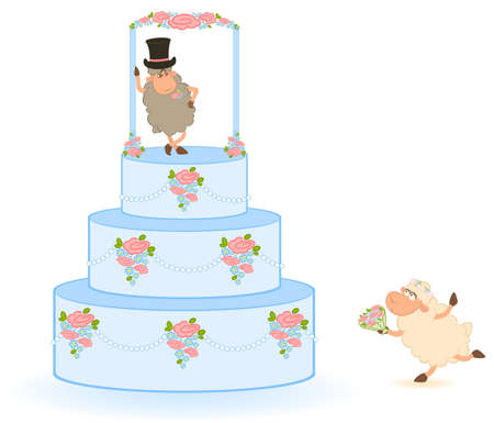 Illustration of pink sweet wedding cake  illustration