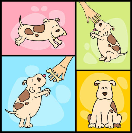 piebald:  illustration of cartoon dogs