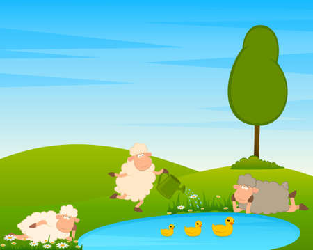 sheep on country landscape with tree and lake. Stock Photo - 7976986