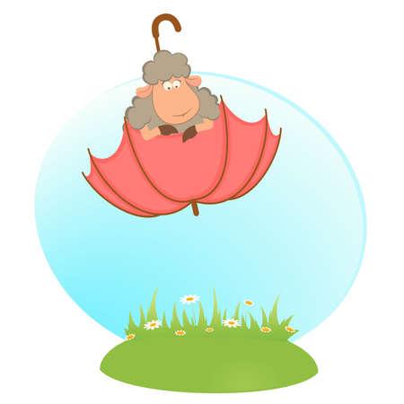 cartoon sheep flies on a umbrella Vector