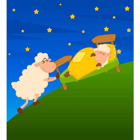 mouton cartoon: Illustration de moutons de dessin anim� au lit