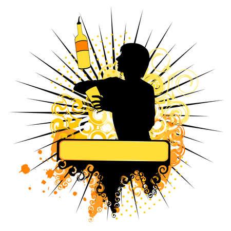 silhouet van bar man weer gegeven: trucs met een fles