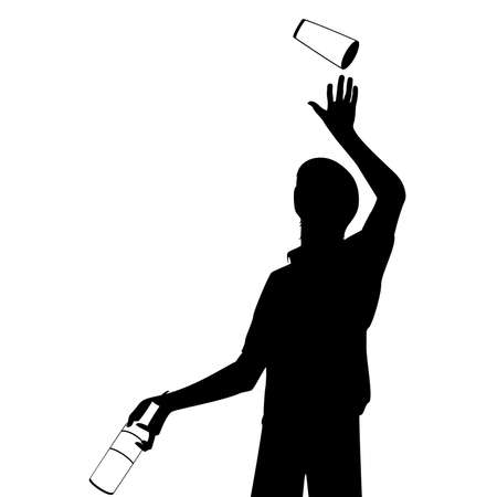 silhouette of barman showing tricks with a bottle Vector