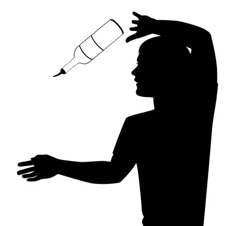 silhouette of barman showing tricks with a bottle Stock Vector - 7977013