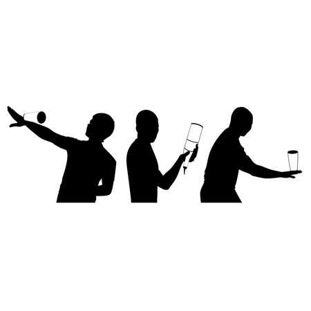 bartender: silhouette de barman montrant des astuces avec une bouteille Illustration