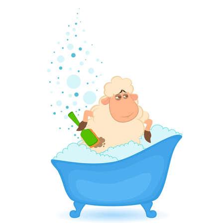 mouton cartoon: Cartoon mouton dans la baignoire est isol�