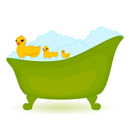 bathroom duck: green bath with ducks in isolated on white background