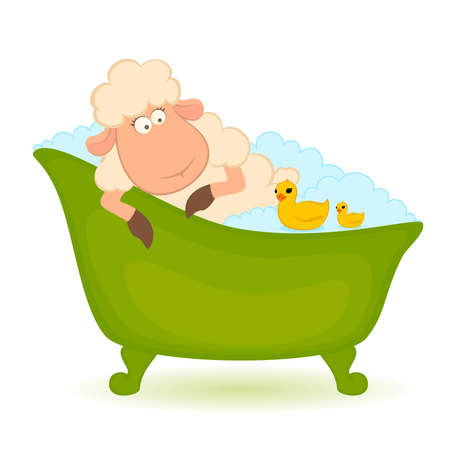 steam bath: sheep in bath is isolated on white background