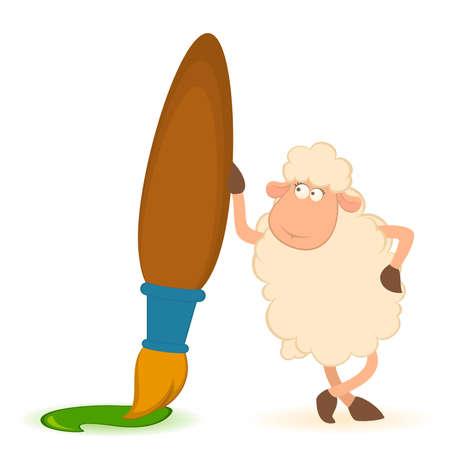 roller brush:  sheep with brush on white background