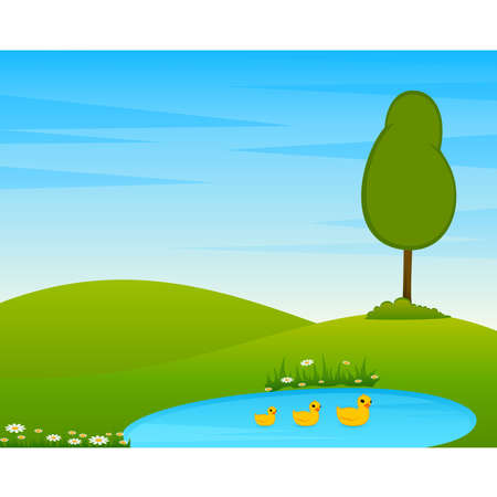 Country Landscape with tree and lake. Stock Vector - 7977080