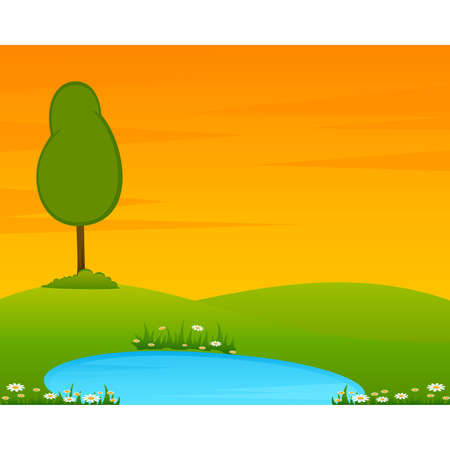 Country Landscape with tree and lake. Stock Vector - 7977081