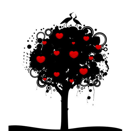 abstract tree with red hearts Vector