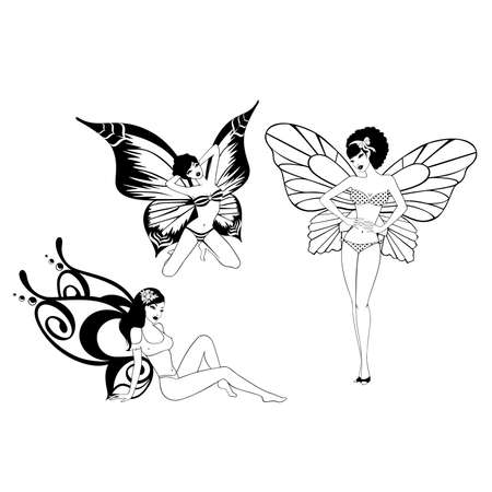 pretty girl with butterfly wings Stock Vector - 7977055