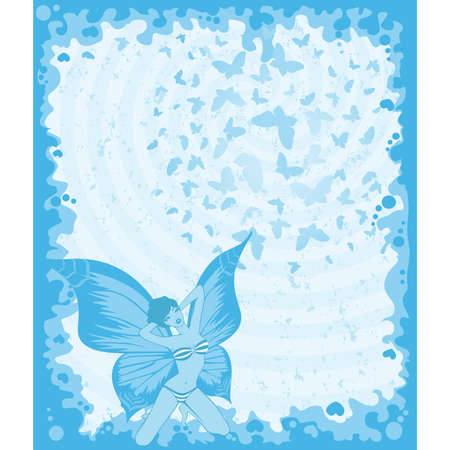 pretty girl with butterfly wings Stock Vector - 7977094