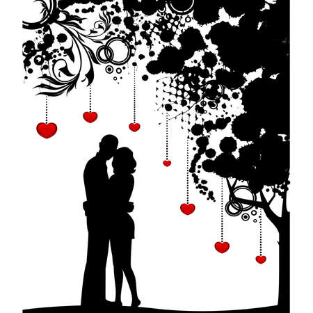 cuddles: silhouette of lovers