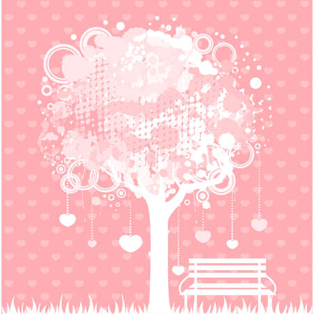 abstract colorful tree with bench Vector