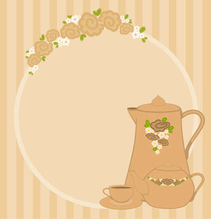 frame with flowers and beautiful cups and tea-pots Stock Photo - 7977118
