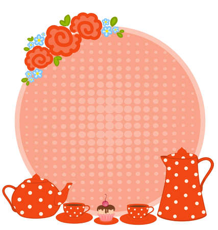 frame with flowers and beautiful cups and tea-pots photo