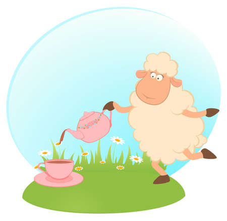 cartoon sheep pours tea from a tea-pot in a cup Stock Photo - 7977117