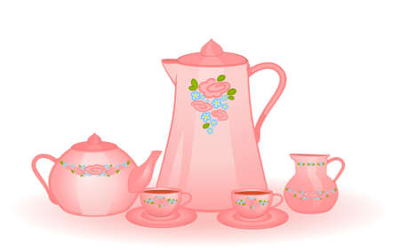 set of color beautiful cups and tea-pots photo