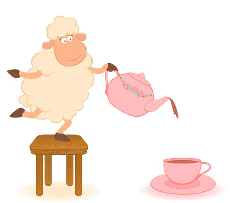 teacups: cartoon sheep pours tea from a tea-pot in a cup