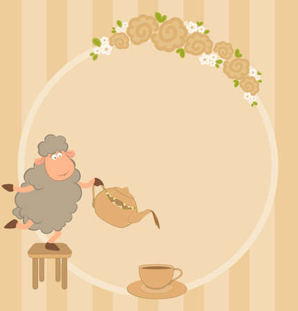 cartoon sheep pours tea from a tea-pot in a cup photo