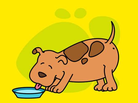 eats: illustration of cartoon dog eats