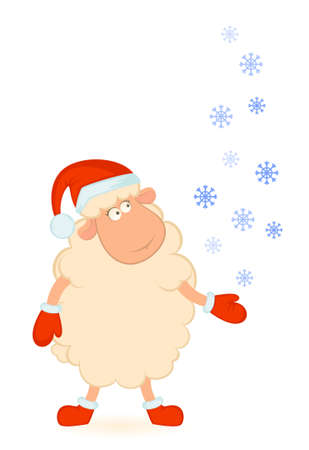 santa suit: Cartoon funny sheep in the suit of Santa Claus. Stock Photo