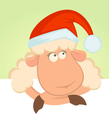 Cartoon funny sheep in the suit of Santa Claus. photo