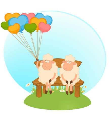 Cartoon sheeps with balloons. photo