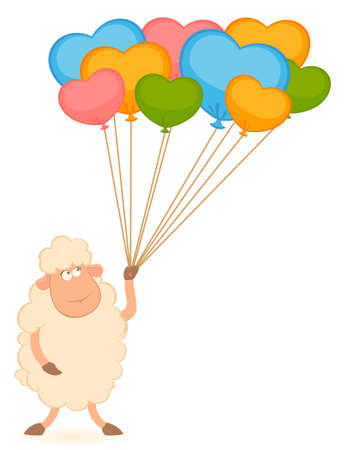 Cartoon sheep with balloons. photo
