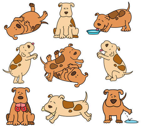 piebald: Set of cartoon dogs Stock Photo