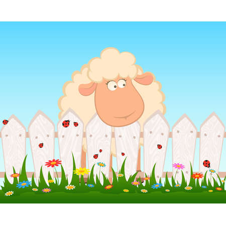 cartoon smiling sheep  after a fence Vector