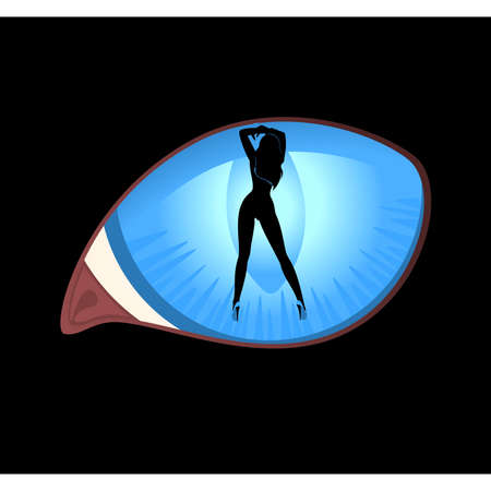 Beautiful pin-up silhouette in black cat eyes in darkness. Vector