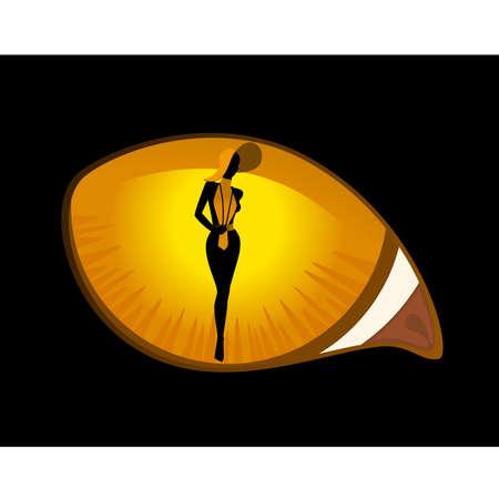 dark eyes: Beautiful pin-up silhouette in black cat eyes in darkness.
