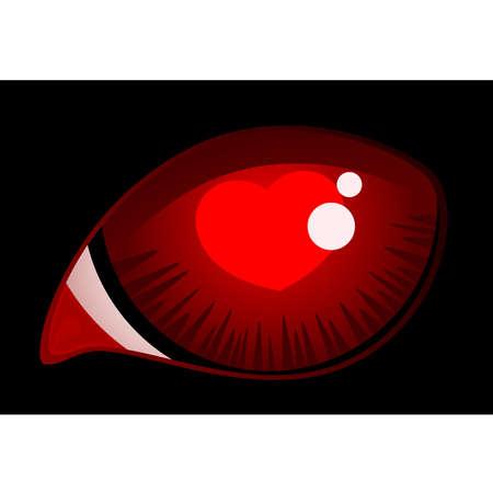 ojo de gato: imagen de ojo de gato rojo con corazones
