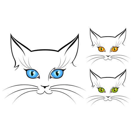 cartoon poes: kat ogen Stock Illustratie