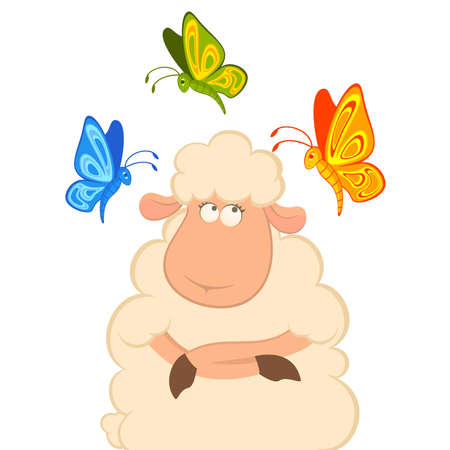 cartoon smiling sheep with butterfly Stock Vector - 8152127