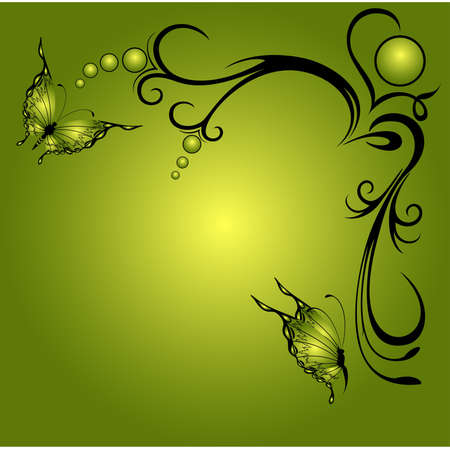 grunge background with  flowers with butterfly Vector