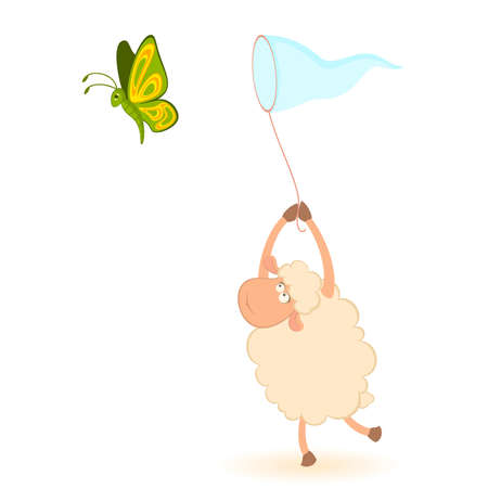cartoon funny sheep catches beautiful butterflies Vector