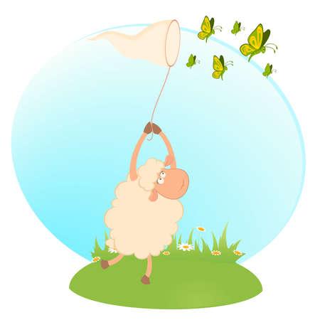 cartoon funny sheep catches beautiful butterflies Vector