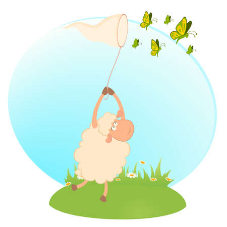 cartoon funny sheep catches beautiful butterflies