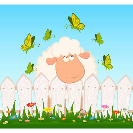 fun grass: cartoon smiling sheep with butterfly after a fence Illustration
