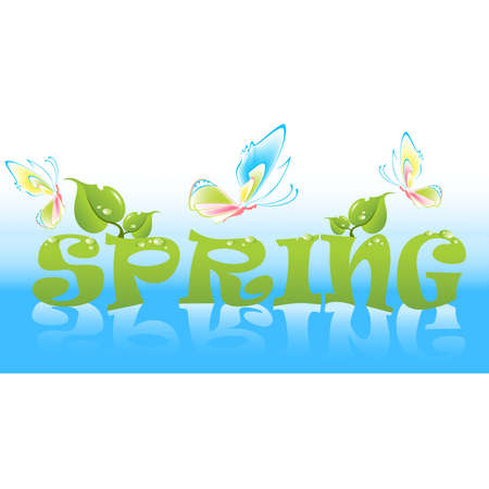 dewdrops: Beautiful word Spring with leaves on a bright background