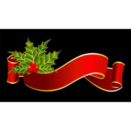 natal: bright christmas red ribbon