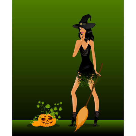 beautiful sexual witch and pumpkin Vector