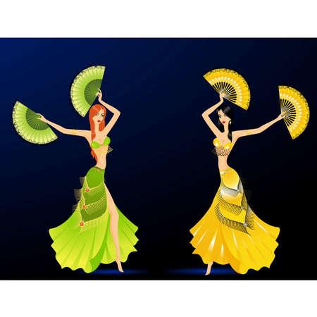 The beautiful young girl dances east dance