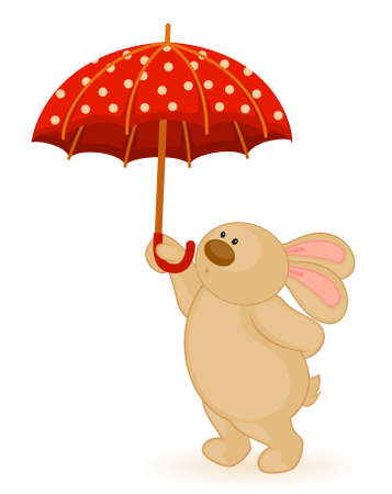 cartoon little toy bunny with umbrella Stock Photo - 8186551