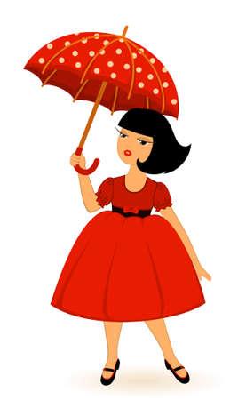 cartoon little girl with umbrella photo