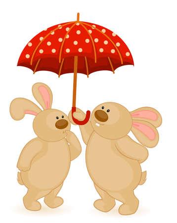 cartoon little toy bunny with umbrella photo